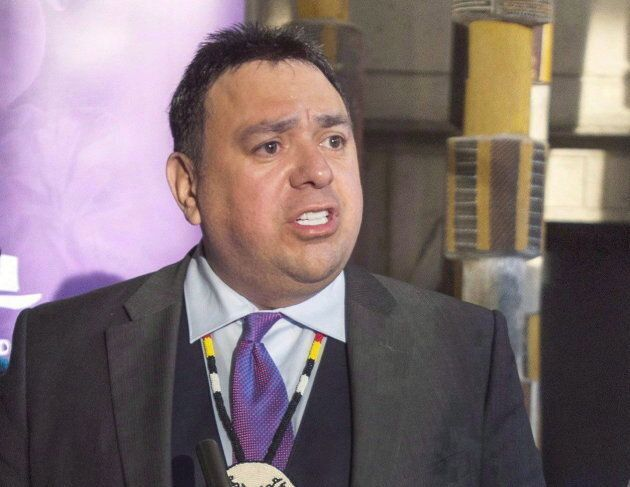Assembly of First Nations regional chief Morley Googoo speaks during a press conference on Nov. 29,
