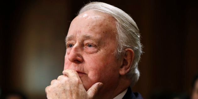 Former prime minister Brian Mulroney listens during a Senate Foreign Relations Committee hearing on the...