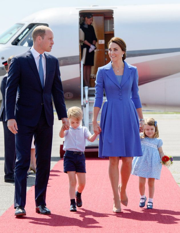 The duke and duchess with their children arriving in Berlin during an official visit to Poland and Germany...