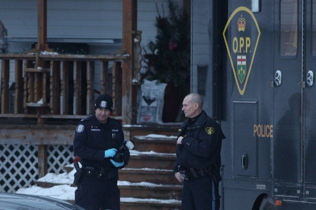 Toronto and OPP forensic officers outside a house connected to Bruce McArthur in Madoc, Ontario on Jan....