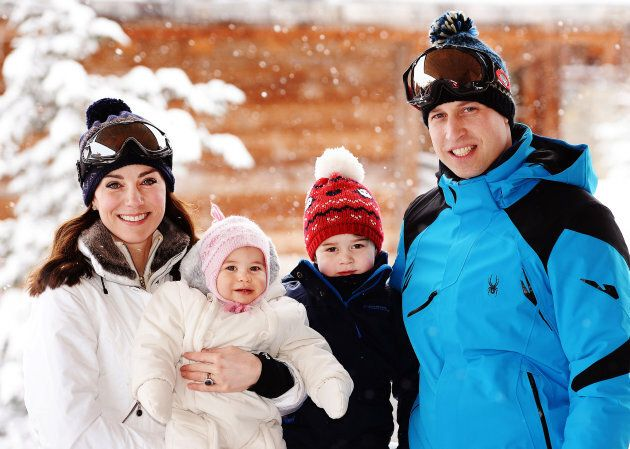 The duke and duchess pose with their children during a private break skiing in the French Alps on March...