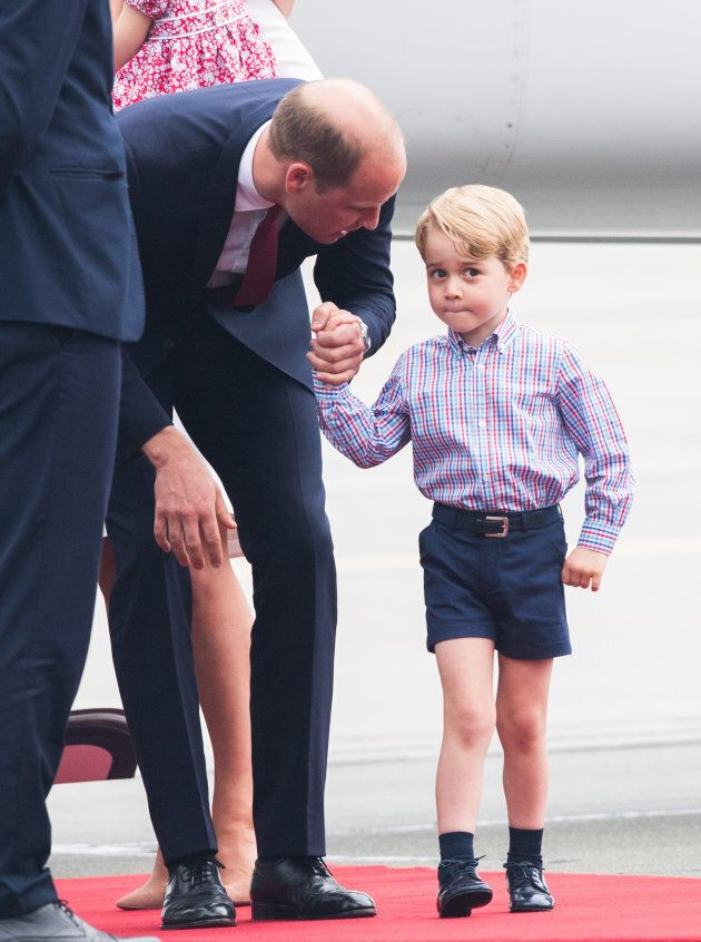 Prince William and Prince George at Warsaw airport during an official visit to Poland and Germany on July 17, 2017.