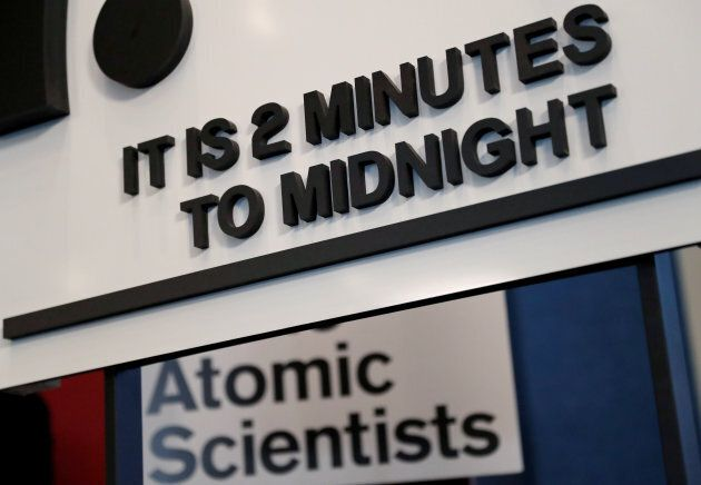 """The updated time designation on the """"Doomsday Clock"""" in Washington on Jan. 25, 2018."""