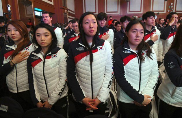 Marissa Brandt, centre, is an American-Korean adoptee. She will be playing for South Korea in the upcoming...