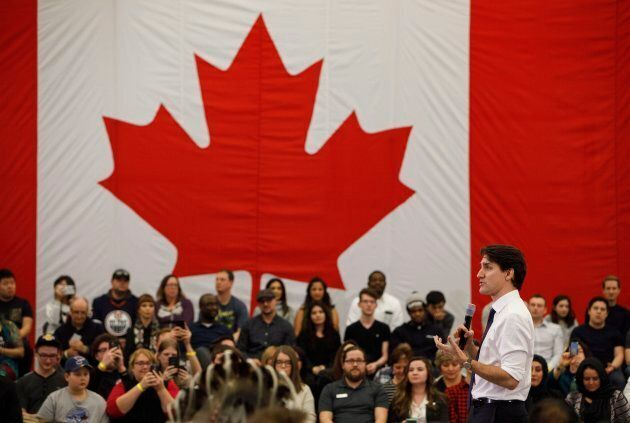 Prime Minister Justin Trudeau takes part in a town hall meeting in Edmonton on