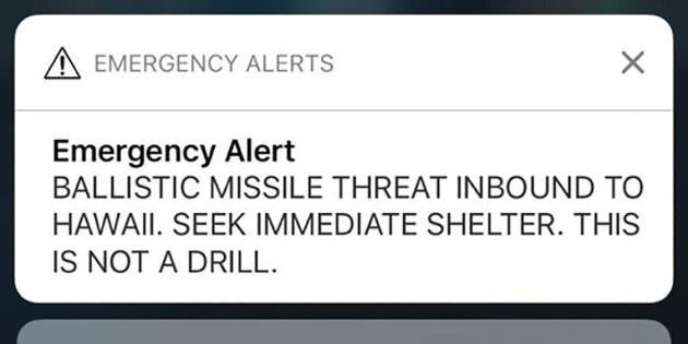A screen shot take by Hawaiian citizen Alison Teal shows the screen of her mobile phone with an alert...