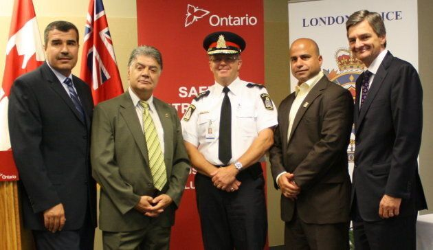Michael Deeb, second from right, served on the London Police Services Board. In this 2011 photo, from left to right, are: then-MPP Khalil Ramal, then-London mayor Joe Fontana, former London police chief Bradley Duncan,  Deeb, and then-attorney general Chris Bentley.
