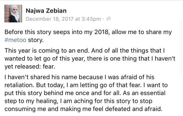 Najwa Zebian posted on Facebook about her interactions with Michael Deeb in December 2017.