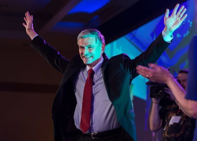 Andrew Wilkinson celebrates after being elected leader of the British Columbia Liberal Party in Vancouver...