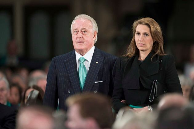 Former prime minister Brian Mulroney, and his daughter Caroline arrive at the state funeral for the Jim...