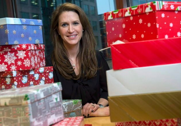 Caroline Mulroney is photographed in Ottawa, alongside shoeboxes filled with personal items to be given...