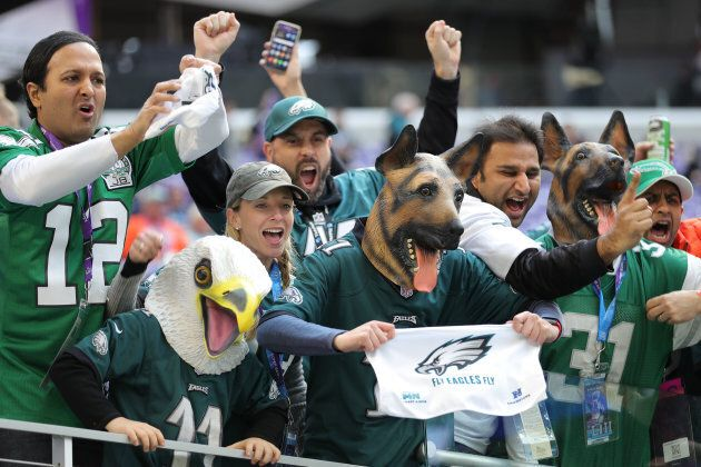 Philadelphia Eagles fans cheer from the stands prior to the Super Bowl LII against the New England Patriots...
