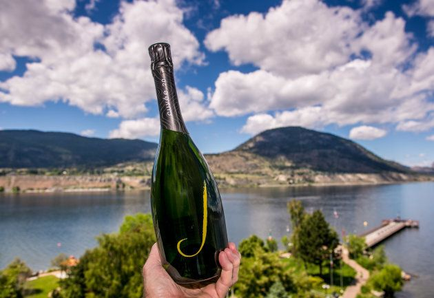 A bottle of sparkling wine on June 9, 2013 near Penticton, British Columbia.