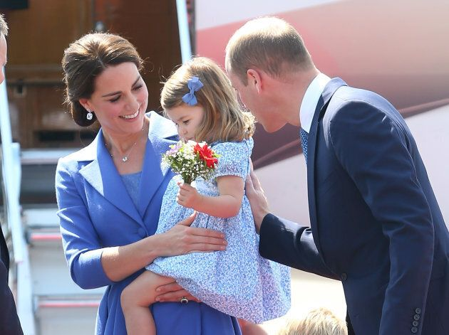 The duchess with Prince William and Princess Charlotte at Berlin's Tegel Airport on July 19,