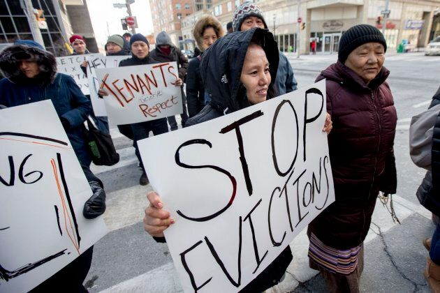 Tenants in the Toronto neighbourhood of Parkdale protest rent hikes and evictions amid the city's rapidly rising housing costs on March 16, 2017.