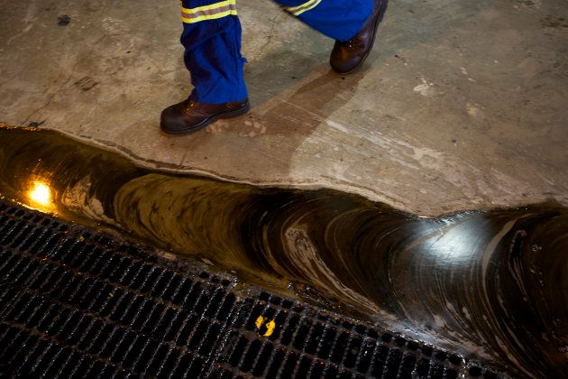 Oil runoff at a tar sands processing plant.