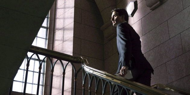 Prime Minister Justin Trudeau leaves a news conference on Parliament Hill in Ottawa on Dec. 20, 2017