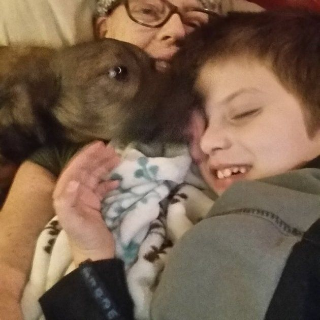 Annette, her son Callum, and dog