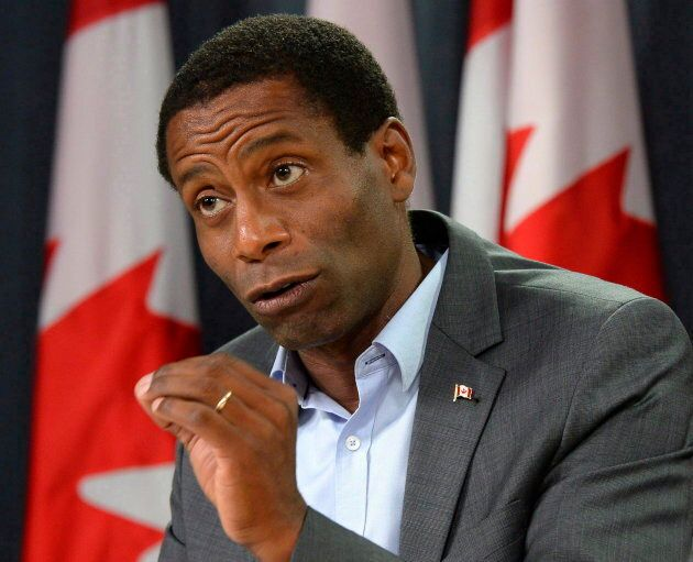 Liberal MP Greg Fergus speaks during a press conference in Ottawa on Sept. 12,