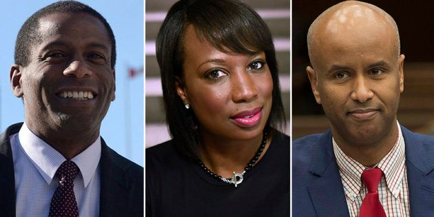 L to R: Liberal MPs Greg Fergus, Celina Caesar-Chavannes and Ahmed Hussen spoke to HuffPost Canada about...