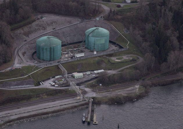 Kinder Morgan Trans Mountain expansion project's Westridge loading dock is seen in Burnaby, B.C., on...