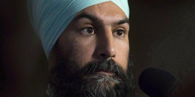 NDP leader Jagmeet Singh speaks with media following caucus on Nov. 29, 2017 in Ottawa.