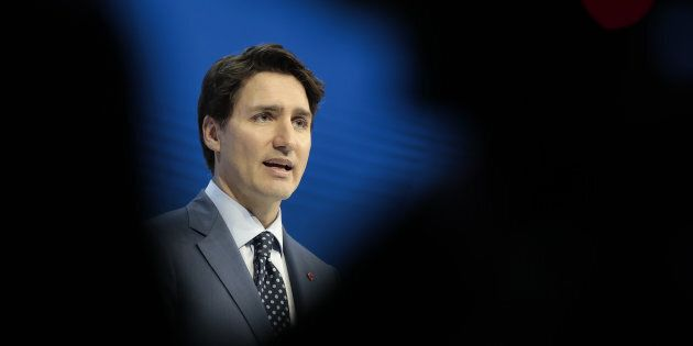 Justin Trudeau speaks during a special session on the opening day of the World Economic Forum (WEF) in...