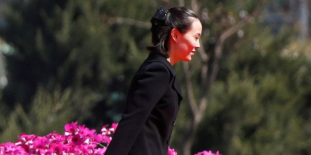 Kim Yo Jong, sister of North Korean leader Kim Jong Un, attends an opening ceremony of a newly constructed...