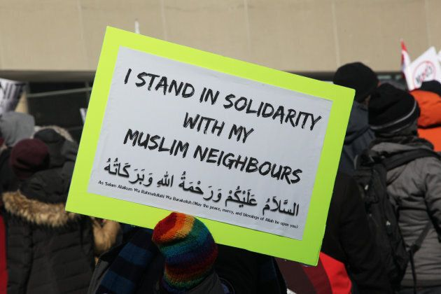 Demonstrators held a counter-protest against anti-Muslim groups over the M-103 motion to fight Islamophobia in Toronto on Mar. 4, 2017.