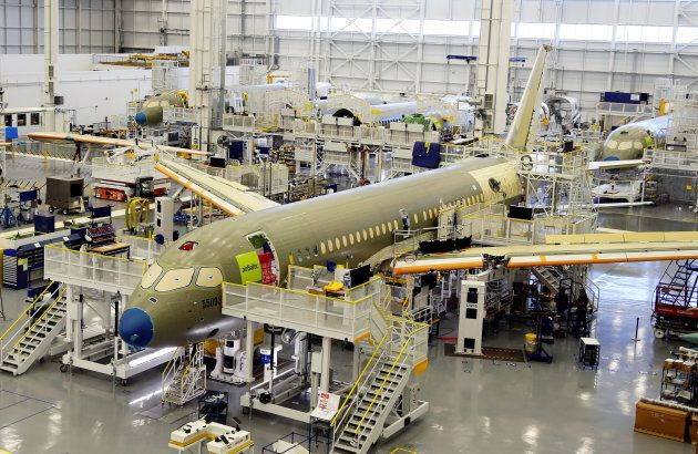 Bombardier's C Series aircraft are assembled in their plant in Mirabel, Quebec, on April 29,