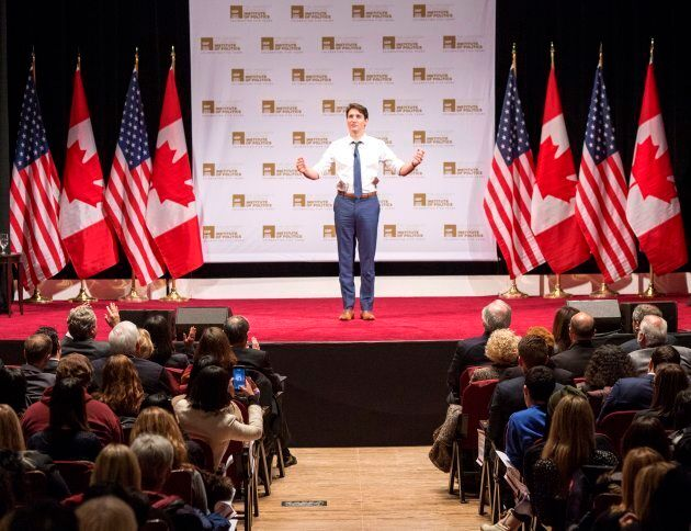 Prime Minister Justin Trudeau speaks to students at the University of Chicago on