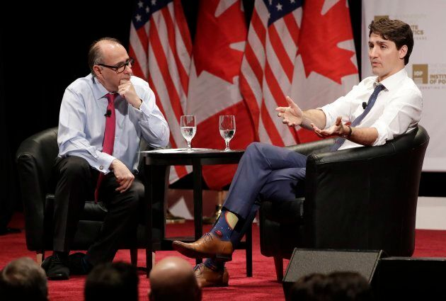 Justin Trudeau responds to a question from David Axelrod at the University of Chicago Institute of Politics...
