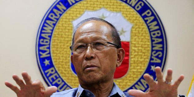 Philippine Defence Secretary Delfin Lorenzana gestures during a Reuters interview Feb. 9. 2017. Lorenzana...