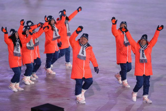 Members of Japan team during the PyeongChang opening ceremony.