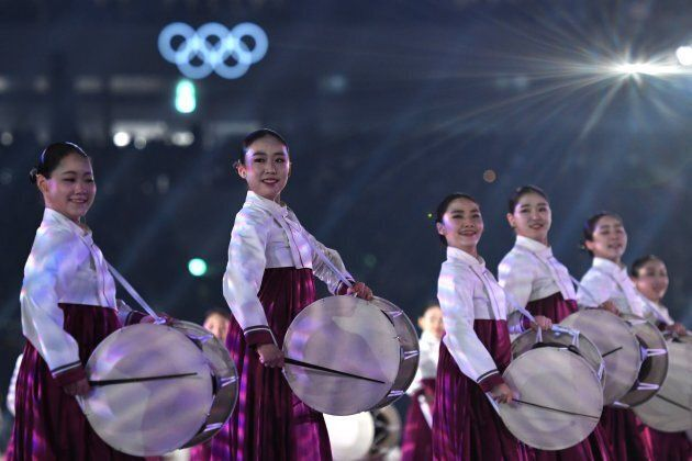 Actors perform during the opening ceremony of the Pyeongchang 2018 Winter Olympic Games at the Pyeongchang...