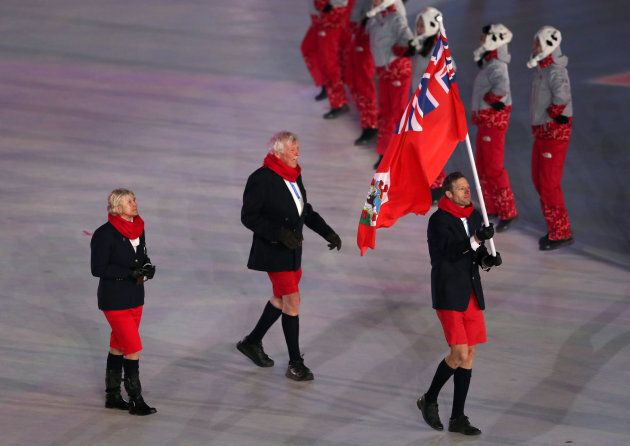 Bermuda flag-bearer Tucker Murphy is seen at the Opening Ceremony of the PyeongChang 2018 Winter Olympic...