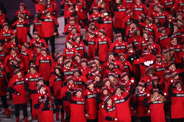 Members of Canada team during the Opening Ceremony of the PyeongChang 2018 Winter Olympic Games on