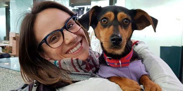 In this undated photo provided by Free Korean Dogs, Canadian figure skater Meagan Duhamel poses with...