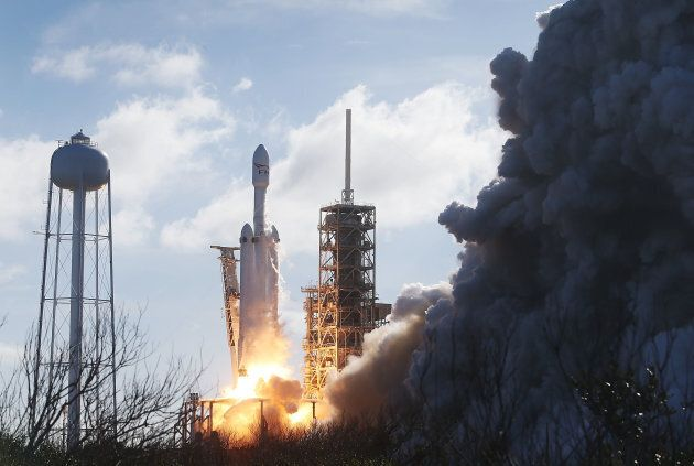 The SpaceX Falcon Heavy rocket lifts off from launch pad 39A at Kennedy Space Center on Feb. 6, 2018 in Cape Canaveral, Fla.