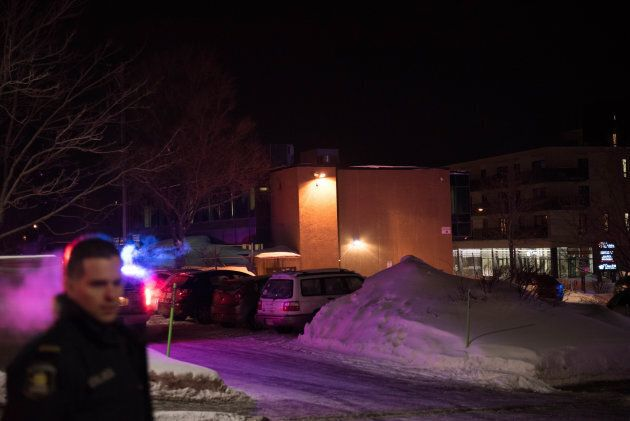 Canadian police officers respond to a shooting in a mosque at the Quebec City Islamic cultural centre in Quebec city on Jan. 29, 2017.