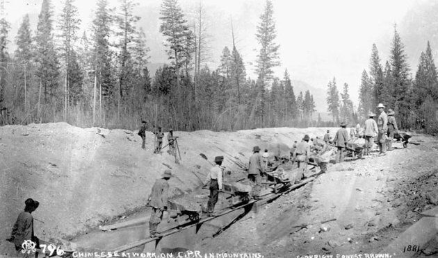 Chinese at work on C.P.R. (Canadian Pacific Railway) in Mountains, 1884.