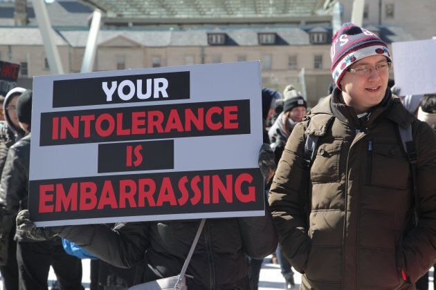 Demonstrators hold a counter-protest against anti-Muslim groups over the M-103 motion to fight Islamophobia in Toronto on Mar. 4, 2017.