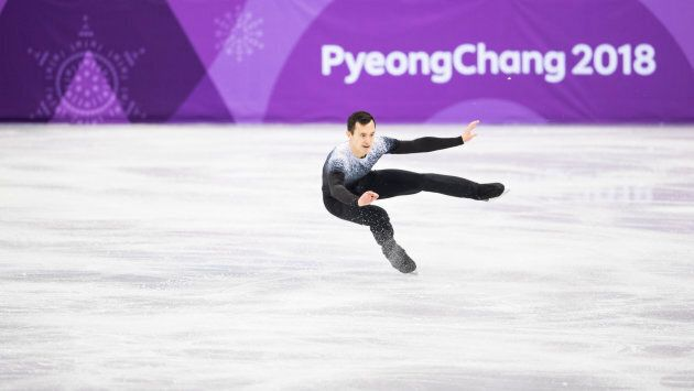 Patrick Chan of Canada competes in the Figure Skating Team Event - Men's Single Skating Short Program...