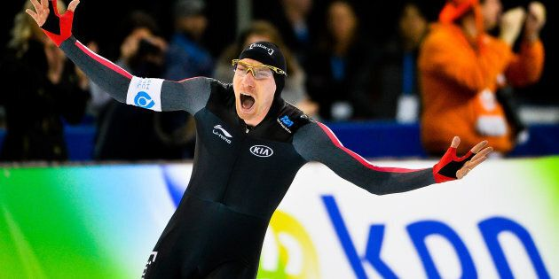 Ted-Jan Bloemen of Canada celebrates after setting a world record in the men's 5,000-meter final during...