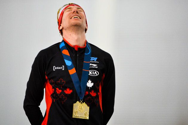 Canada's Ted-Jan Bloemen celebrates after setting a world record in the men's 5000-meter final during...