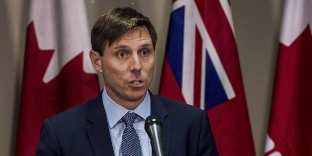 Ontario Progressive Conservative Leader Patrick Brown speaks at a press conference at Queen's Park in...