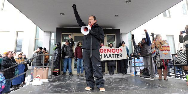 Chief Cadmus Delorme of Cowessess First Nation speaks during a rally in Regina following the not guilty...