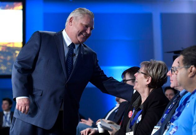 Ontario PC Party leadership candidate Doug Ford greets supporters before participating in a question-and-answer...