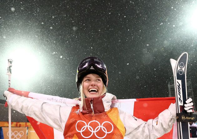 Silver medalist Justine Dufour-Lapointe of Canada celebrates during the victory ceremony for the women's