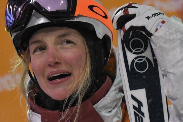 Canada's Justine Dufour-Lapointe celebrates during the women's moguls